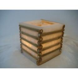 Quadrat. Laterne aus Wachs mit Bambus (weiss)