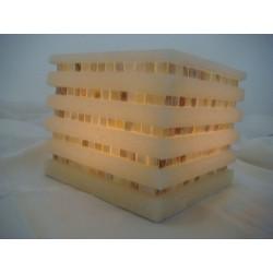 Quadrat. weisse Laterne aus Wachs mit Mosaikperlmutt